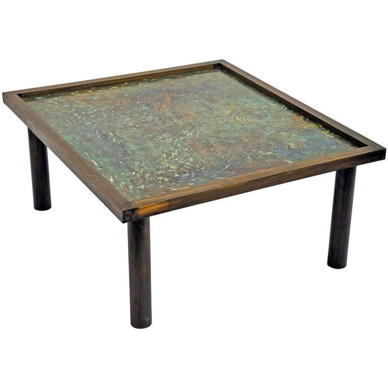 Philip Laverne, Signed Custom, Bronze Table For Sale