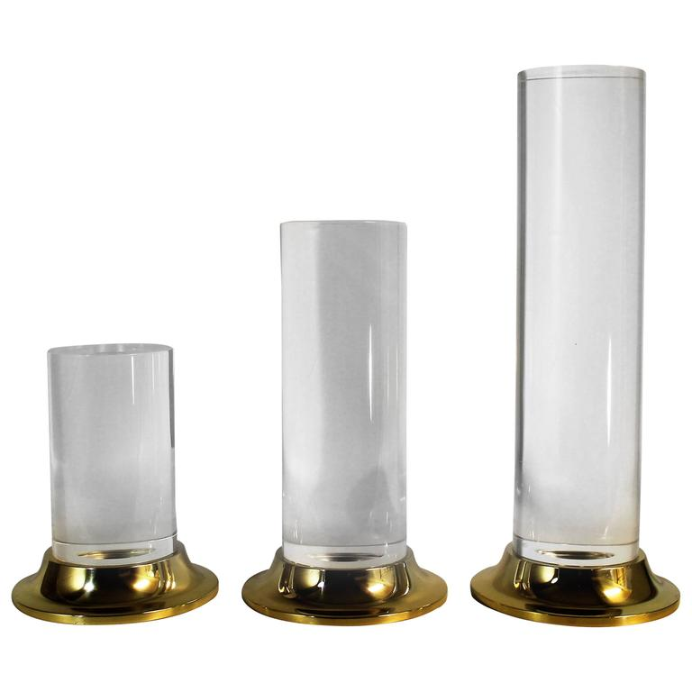 Set of Three Lucite and Brass Candlesticks or Candle Holders, Mid-Century Modern