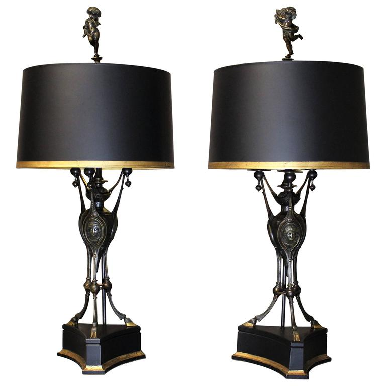 Pair of 19th Century Neoclassical Bronze Candelabras Converted to Lamps