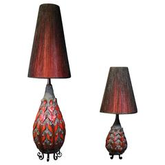 Fat Lava Art Pottery Matching Floor and Table Lamp, Mid-Century Modern