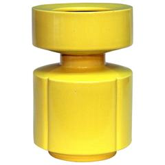 Vintage Japanese Studio Pottery Modernist 1970s Yellow Vase