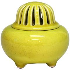 Japanese Kyoto Pottery Censor Incense Burner Atomic Yellow Crackle Glaze