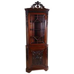 19th Century Carved Mahogany Chippendale Style Corner Cabinet, Edwards & Roberts