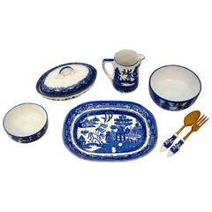 Eight-Piece Collection of English Blue Willow China Serving Pieces