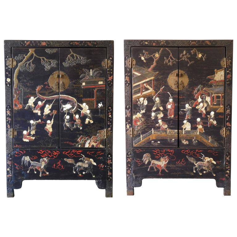 Pair of 19th Century Chinese Scholars Cabinets