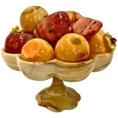 Exceptional Mexican Carved Onyx Fruits in Onyx Bowl