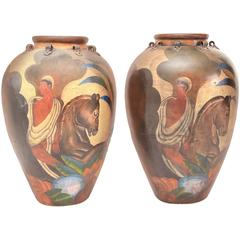 Pair of Painted Deco Style Antique Terra-Cotta Amphora Jars
