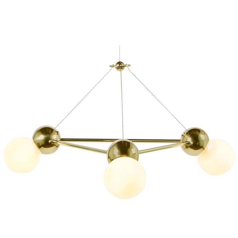Lina 03 Light Triangle Modern Minimal Geometric Chandelier Polished Br