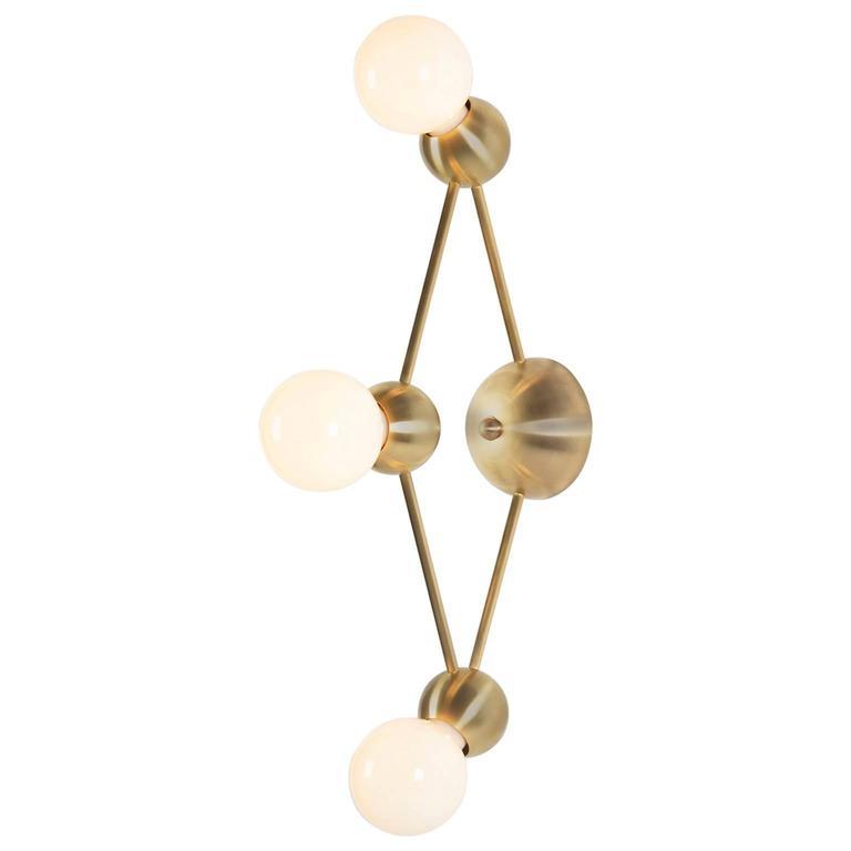 Lina 03-Light Diamond Sconce, Modern Minimal Geometric Wall Mount, Brushed Brass