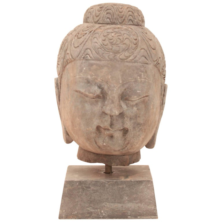 20th Century Stone Buddha Head For Sale