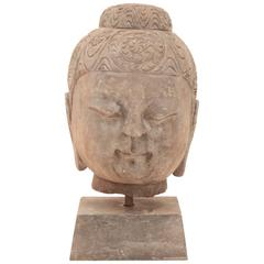 20th Century Stone Buddha Head