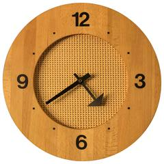 Mid-Century Modern Cane and Wood Clock