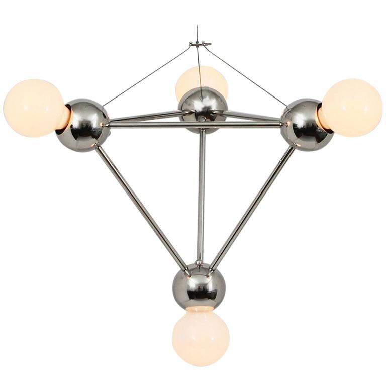 Lina Four-Light Pyramid SM, Modern Minimal Geometric Chandelier, Polished Nickel