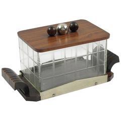 French Art Deco Macassar & Crystal Decorative Cookie Box Candy Jar, circa 1930s