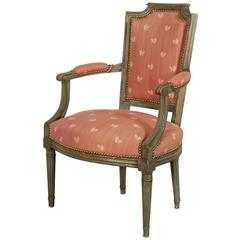 French Directoire Green-Painted Fauteuil