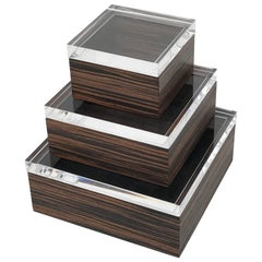 Set of Three Macassar Ebony and Lucite Jewelry Boxes