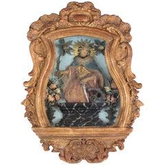 18th Century Icon, Wax Portrait Giltwood Frame