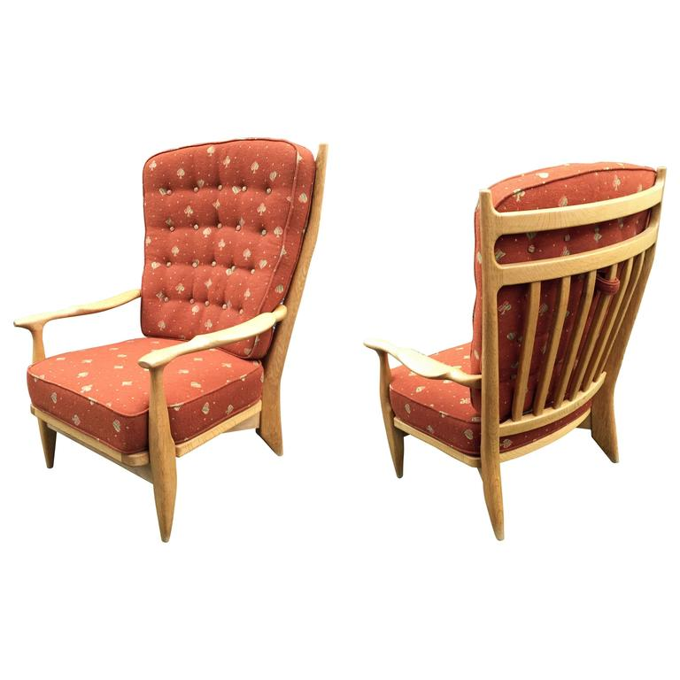 Guillerme et Chambron, Pair of Oak Edouard Armchairs, Edition Votre Maison, 1975