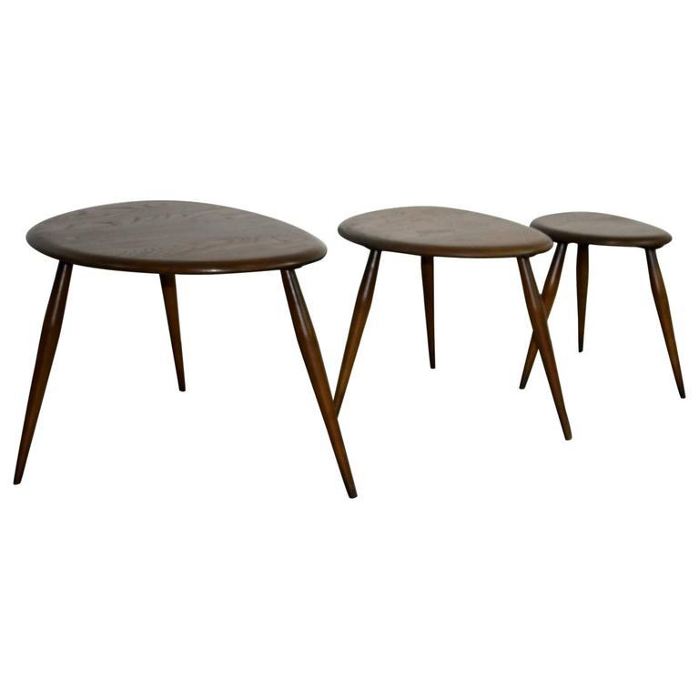 """Vintage Ercol Coffee Tables For Sale: Vintage 1960s Ercol Nest Of """"Pebble"""" Coffee Tables For"""