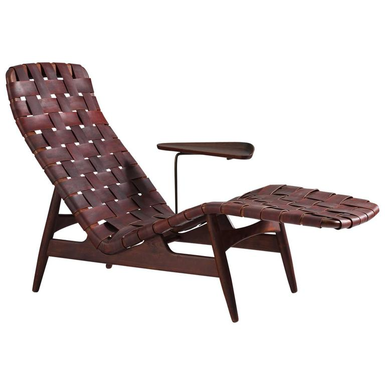 Arne vodder chaise longue in leather for bovirke for sale for Chaise longue leather