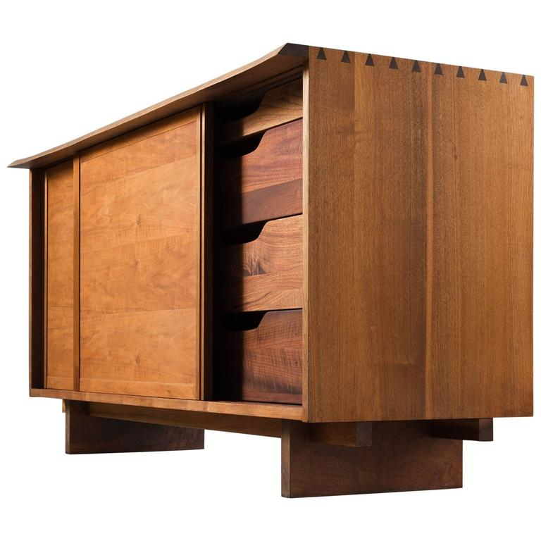 George Nakashima Two Sliding Door Cabinet In Walnut For At