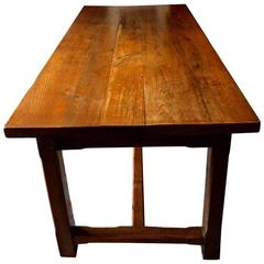 Refectory Dining Table Solid Oak Plank Top Eight to Ten Seating