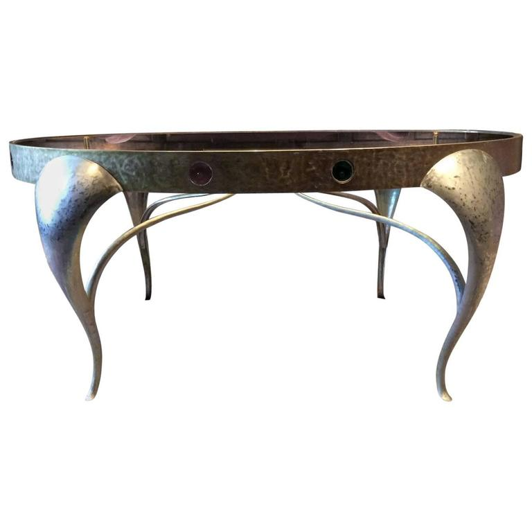 Bespoke console table centre table circa 1960s steel and glass unique at 1stdibs Bespoke glass furniture