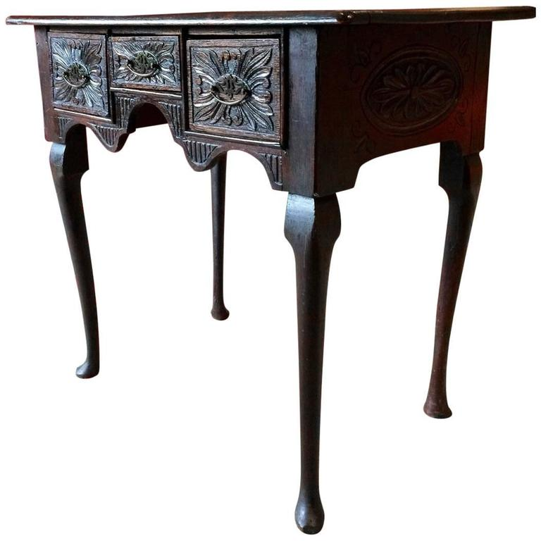 Antique Low Boy Heavily Carved Solid Oak 18th Century Hall Table 1