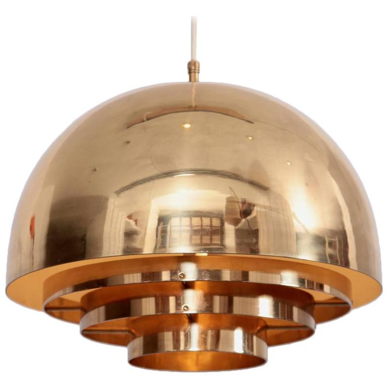 Brass Chandelier or Pendant Light by Vereinigte Werkstätten München For Sale