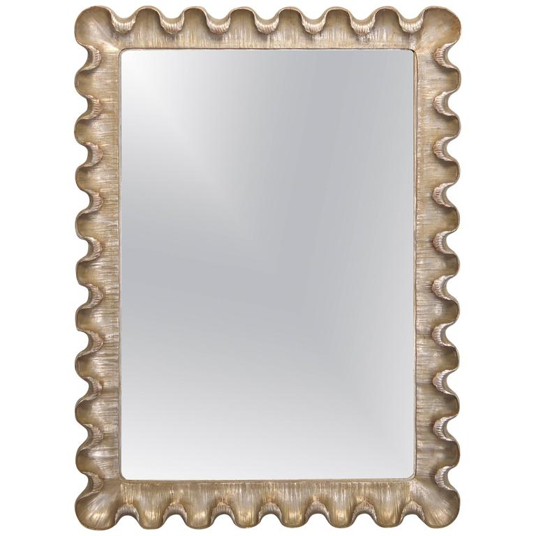 Italian Silver Gilt Scalloped Frame Mirror, 1950s at 1stdibs