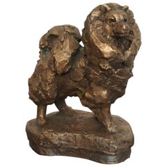 Good Quality 20th Century Bronze Spitz Dog Sculpture with Founders Mark