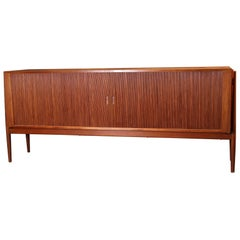 Niels Vodder Large NV54 Sideboard with Tambour Doors, 1954