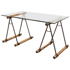 Glass Top Bamboo and Iron Saw Horse Desk or Console Table