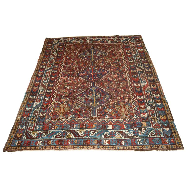 Qashqai Shiraz Rug: Old South West Persian Khamseh Tribal Rug, Shiraz Region