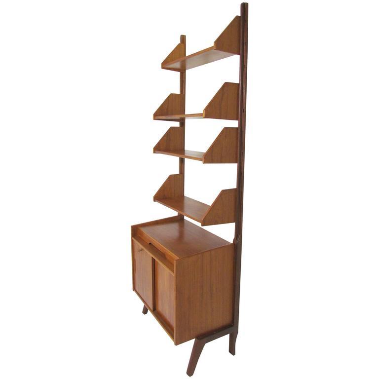 danish teak free standing wall shelving book case unit in. Black Bedroom Furniture Sets. Home Design Ideas