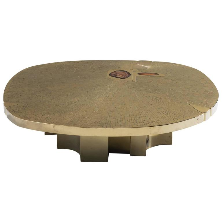 Agate Marble And Brass Round Cocktail Table At 1stdibs: Jean Claude Dresse Brass Coffee Table With Agate Stones