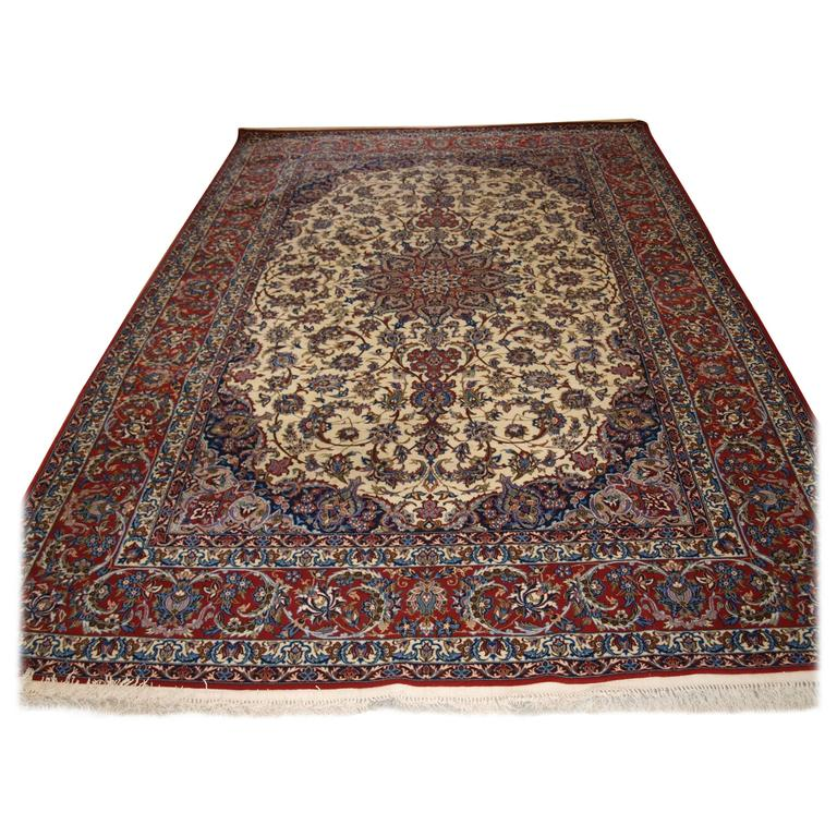 Old Persian Isfahan Carpet, Wool and Silk on a Very Fine Silk Foundation
