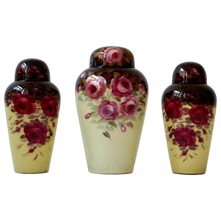 Set of Three Glass Art Deco Vases For Sale