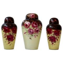 Set of Three Glass Art Deco Vases