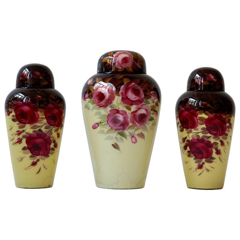 Set of Three Glass Art Deco Vases For Sale
