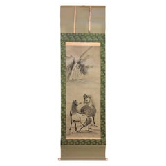 "Japan Waterfall With Two Horses"" Old Hand Painted Scroll"