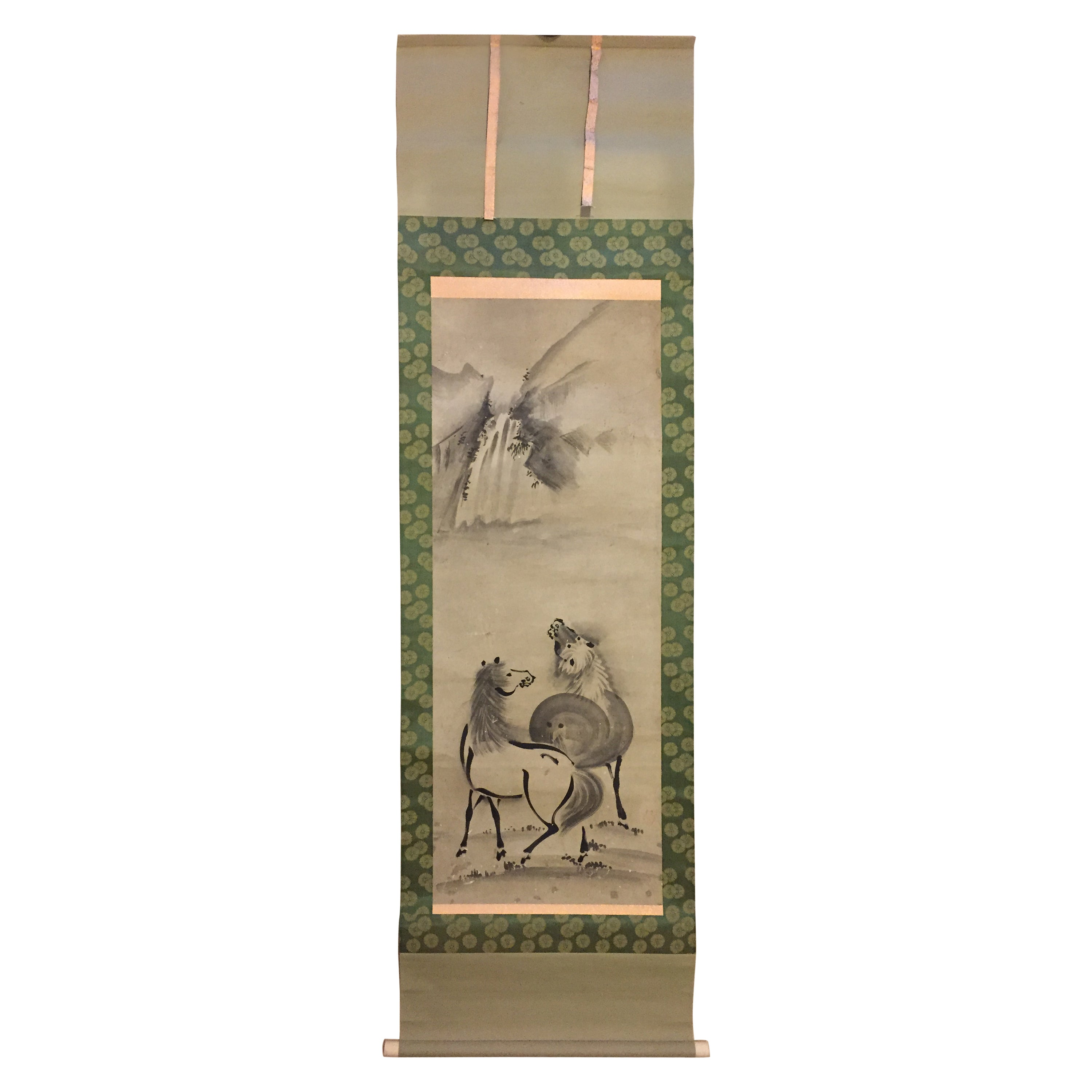 """Japan Waterfall With Two Horses"""" Old Hand Painted Scroll"""