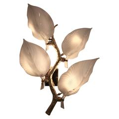 Barovier & Toso, Large Sconces in Brass and Murano Glass