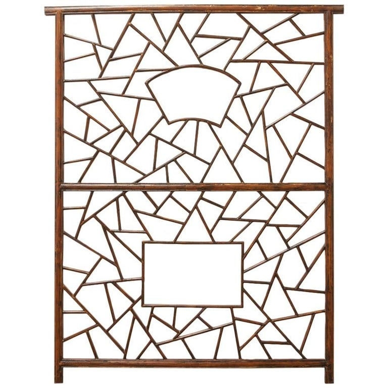 Chinese Carved Cracked Ice Lattice Panel For Sale
