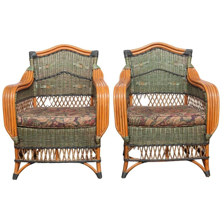 Pair of French Rattan Art Deco Lounge Chairs by Grange 1. Pair of French Rattan Art Deco Lounge Chairs by Grange For Sale at