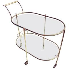 Delicate French Brass Drinks Trolley or Bar Cart