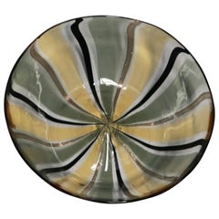 Black and Gold Italian Murano Art Glass Bowl