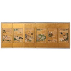 Japanese Edo Period Six-Panel Byobu Screen