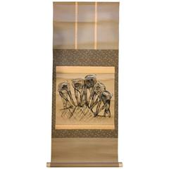 "Japanese ""Net Fishermen""  Old Animated Hand-Painted Scroll"