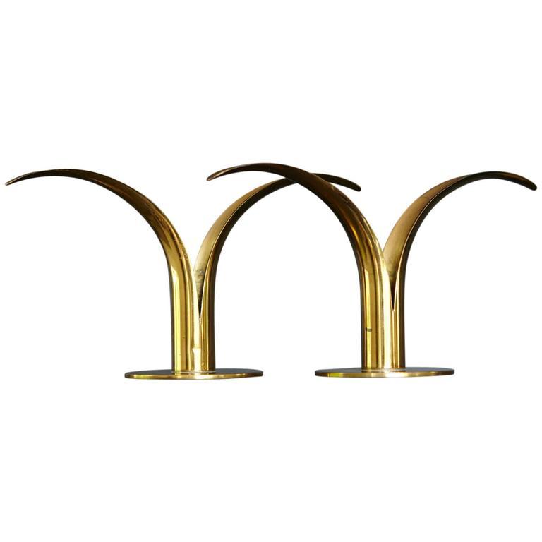 """Liljan"" Brass Candleholders by Ivar Ålenius Björk for Ystad Metal Sweden 1"